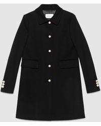 Gucci Single-breasted Wool Coat - Black
