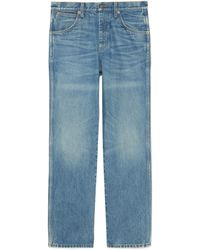 Gucci Marble Washed Denim Pants - Blue
