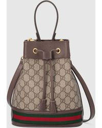 Gucci Kleine Ophidia Bucket Bag mit GG - Natur
