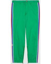 Gucci Hose aus Baumwolle mit Streifen - Grün