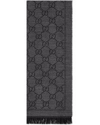 Gucci Gg Jacquard Pattern Knit Scarf - Black