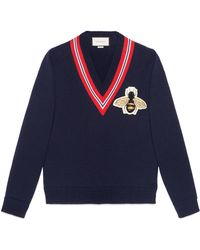 Gucci Wool Sweater With Bee Appliqué - Blue