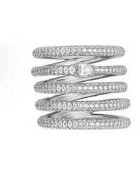 Gucci Anello Ouroboros a cinque fasce con diamanti - Multicolore