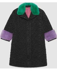 Gucci Quilted Nylon Coat With Mink - Black