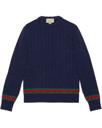 Gucci Pullover mit Zopfmuster und Web - Blau
