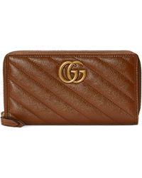 Gucci GG Marmont Matelassé Zip Around Wallet - Brown
