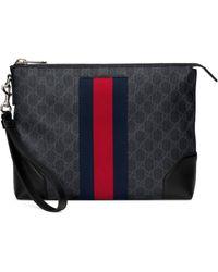 Gucci Logo-strip Leather Pouch - Black