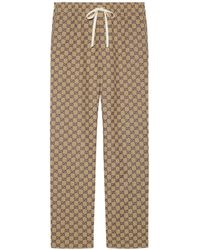 Gucci GG Canvas Trousers With Leather Interlocking G - Natural