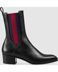 Gucci Karen Leather Ankle Boots - Black