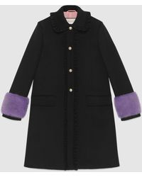 Gucci - Wool Coat With Mink - Lyst