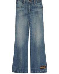 Gucci Eco Stone Washed Denim Flare Pants - Blue