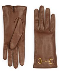 Gucci Leather Gloves With Horsebit - Brown