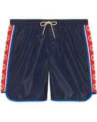 Gucci Nylon Swim Shorts With Logo Stripe - Blue