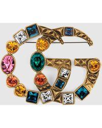 Gucci Brosche mit GG und Kristallen - Mettallic