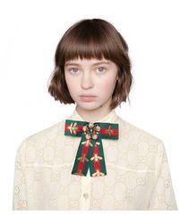 Gucci Spilla a fiocco con motivo Web e perle - Multicolore