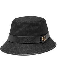 Gucci GG Canvas Bucket Hat With Double G - Black