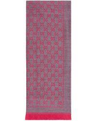 Gucci Bufanda de lana de jacquard con GG - Rosa