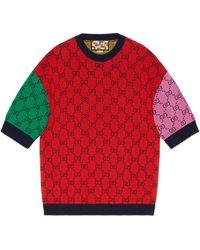 Gucci Jersey de manga corta GG Multicolor - Rojo