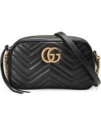 Gucci Bolso de Hombro GG Marmont Pequeño de Matelassé - Negro