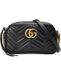 Gucci Gg Marmont Matelassã© Shoulder Bag - Black
