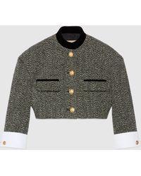 Gucci 【公式】 (グッチ)ダブルg ボタン付き チェック ツイード ジャケットブラック&ホワイトグレー