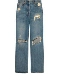 Gucci Ripped Eco Washed Organic Denim Pants - Blue