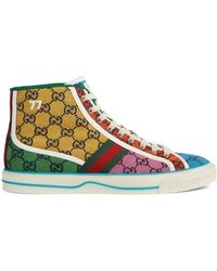 Gucci Sneaker alta Tennis 1977 GG Multicolor uomo - Giallo