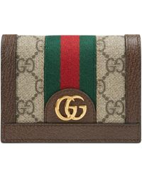 Gucci Ophidia GG Card Case Wallet - Brown