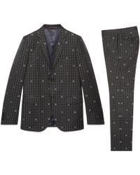 Gucci - Abito Monaco in lana a quadri con api - Lyst