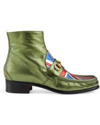 Gucci Union Jack Horsebit Leather Boot - Green