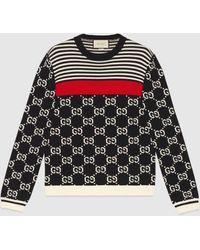 Gucci Pullover aus Strick mit GG und Streifen - Blau