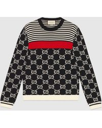 Gucci GG And Stripes Knit Sweater - Blue