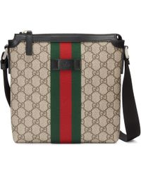 5efa9995592 Lyst - Gucci Bright Diamante Leather Messenger Bag in Gray for Men