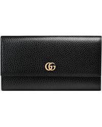 Gucci GG Marmont Continental Brieftasche aus Leder - Schwarz