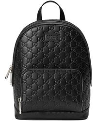 Gucci Signature Leather Backpack - Black