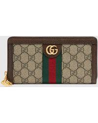 Gucci Ophidia Brieftasche mit Rundumreißverschluss und GG - Braun