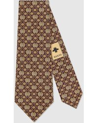 Gucci Double G And Horsebit Silk Tie - Brown