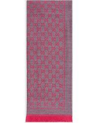 Gucci Schal aus GG Wolljacquard - Pink