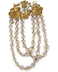 Gucci Broche ornée de perles avec détail fleuri - Multicolore