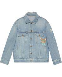 Gucci Cat Organic Denim Jacket - Blue