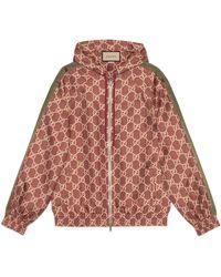 Gucci Jacke aus Seide mit GG Supreme Print - Rot