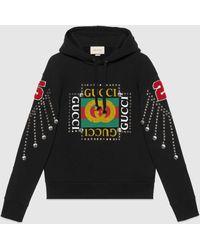 Gucci Logo Sweatshirt With Crystals - Black
