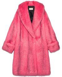 Gucci - Abrigo Extragrande de Imitación Piel Rosa - Lyst