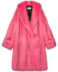 Gucci Abrigo Extragrande de Imitación Piel Rosa