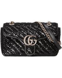 Gucci Kleine GG Marmont Schultertasche mit Paillettenbesatz - Schwarz