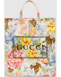 Gucci - グッチ プリント フローラル ミディアム トートバッグ - Lyst