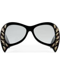 3eeae3caf2d Gucci Gg 3862 s Yl1vk Black Acetate Oversized Square Frame Women s ...