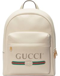 Gucci Print Leather Backpack - White