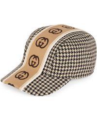 Gucci Kappe mit Hahnentrittmuster und GG Streifen - Schwarz