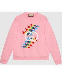 Gucci 【公式】 (グッチ)インターロッキングg スターフラッシュ プリント コットン スウェットシャツ ピンクピンク
